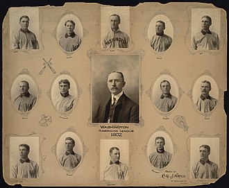 1902 Washington Senators season - 1902 Washington Senators team. Top row, left to right: Orth, Patten, Clarke, Doyle, Ely. Center row, left to right: Drill, Coughlin, Loftus, Keister, Ryan. Bottom row, left to right: Lee, Carey, Delahanty, Townsend, Carrick. Not pictured: Atz, Donahue, Stanley, Vorhees, Wolverton.