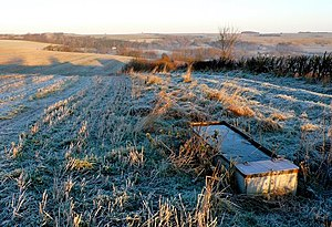 English: Water Trough near Compton Valence The...