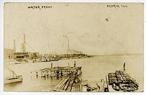 History of Peoria, Illinois - Waterfront in Peoria, Illinois, c.1909