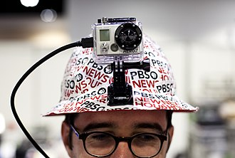 Body worn video - Reporter with camera on helmet to live stream press conferences