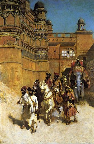 Gwalior State - The Maharaja of Gwalior before his palace by Edwin Lord Weeks.
