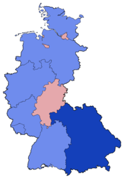 West German Federal Election - Party list vote results by state - 1961 & 1965.png