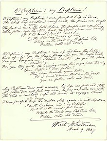 o captain my captain  an 1887 handwritten draft of whitman s 1865 poem o captain my captain