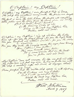 "O Captain! My Captain! - An 1887 handwritten draft of Whitman's 1865 poem ""O Captain! My Captain!"