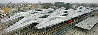 Rail transport in Austria - View of Wien Hauptbahnhof