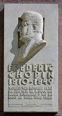 Gedenktafel für Frédéric Chopin, Wien, Kohlmarkt 9 (Quelle: Wikimedia)