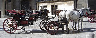 Landau (carriage) - In Vienna, landaus are called fiacres because they can be rented to carry tourists around the old city.
