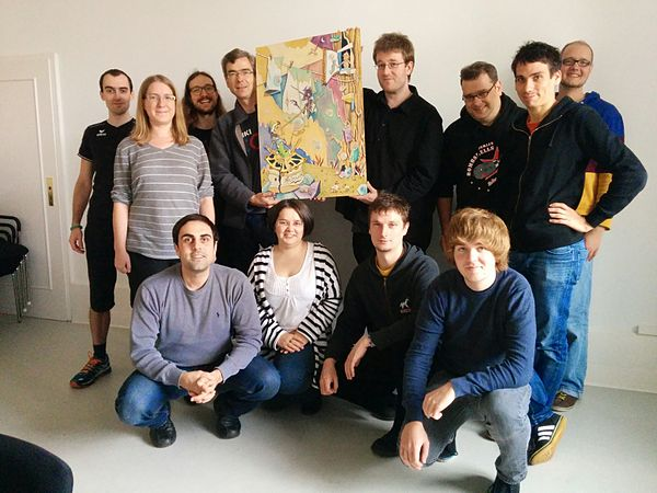 Wikidata team and painting.jpg