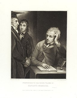 William Hayley, writer, seated. A tutor and pupil stand. Wellcome L0038419