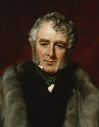 Lord Melbourne (1844, age 65); detail from a painting by John Partridge. William Lamb, 2nd Viscount Melbourne, painted by John Partridge.jpg