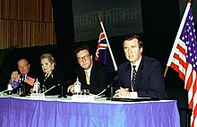 William S. Cohen (right) during Australia-United States Ministerial Consultations in Sydney, Australia, 1998.jpg