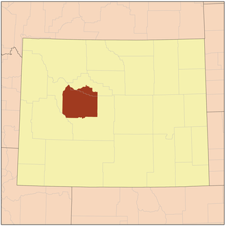 Wind River Indian Reservation - Location of the Wind River Indian Reservation in Wyoming