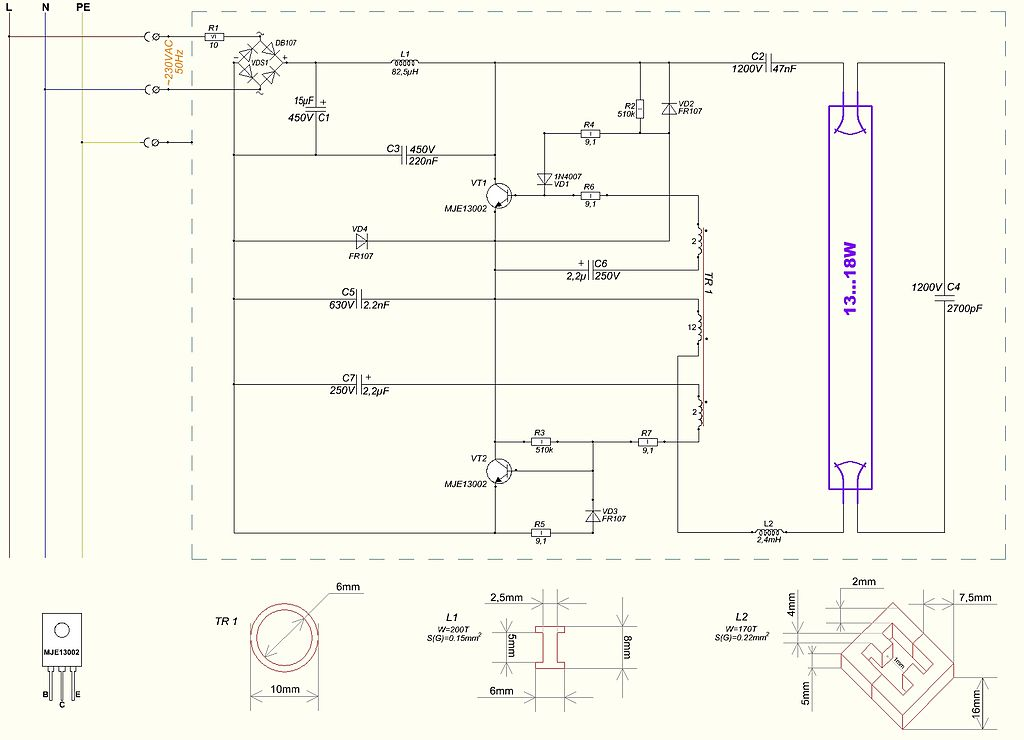 Bulb fluorescent light ballast wiring diagram for a