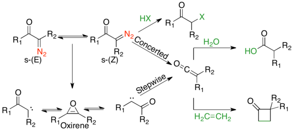 Mechanistic landscape of the Wolff-rearrangement, with the concerted mechanism on the top and stepwise mechanism with carbene and oxirene intermediates on the bottom.