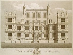 Robert Smythson - Wollaton Hall in the late 18th century. Engraving by M A Rooker after a drawing by Thomas Sandby