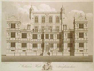 Wollaton Hall - Wollaton Hall in the late 18th century (engraving by M. A. Rooker after a drawing by Thomas Sandby)
