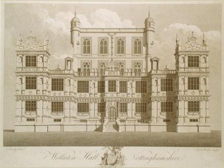 Wollaton Hall (Engraving by M A Rooker after a drawing by Sandby) Wollaton Hall late 18th century print by M A Rooker after a drawing by Thomas Sandby.JPG