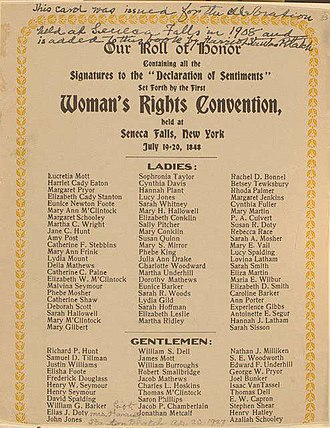 Declaration of Sentiments - Signers of the Declaration at Seneca Falls in order: Lucretia Coffin Mott is on top of the list