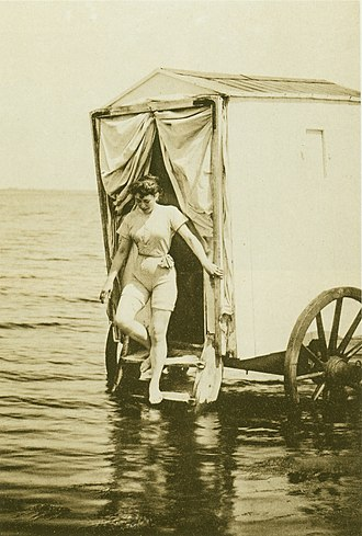 Sea bathing - Bathing machine and woman's swimwear style of Germany, 1893