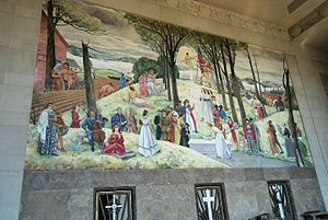 Worcester Memorial Auditorium - Main mural by Leon Kroll (1938-1941)