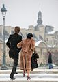 Young lovers in the snow, Paris 2009.jpg