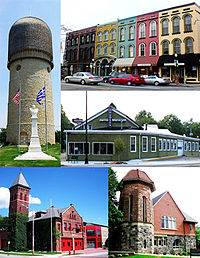 Images from top to bottom, left to right: Ypsilanti Water Tower, Depot Town/Sidetrack Bar & Grill, Ypsilanti Automotive Heritage Museum, Michigan Firehouse Museum, and دانشگاه میشیگان شرقی Starkweather Hall