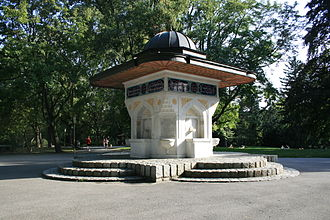 Turks in Austria - The Yunus-Emre-Fountain is located in the Türkenschanzpark Währing. It is a present from the Republic of Turkey to Austria (1991)