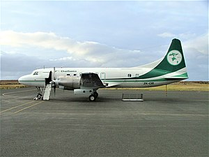 Air Chathams - Air Chathams Convair 580 at Tuuta Airport, Chatham Islands in September 2003