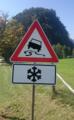 Zeichen 114 - Schleudergefahr bei Nässe oder Schmutz; Zusatzschild 841 - Gefahr unerwarteter Glatteisbildung; StVO 1970; StVO 1973.png