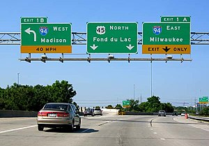 Interstate 94 - I-894 west at the Zoo Interchange (I-94)