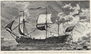 "Louisbourg Expedition (1757) - ""HMS Grafton after the storm off Louisbourg, 1757."""
