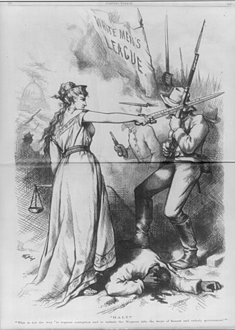 White League - A sword-wielding Columbia in an 1874 Thomas Nast cartoon, protecting an injured black man from being beaten by a mob of White Leaguers
