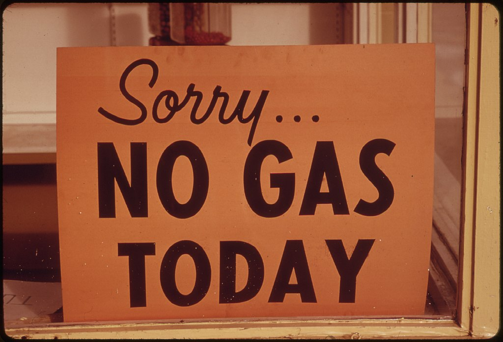 """No Gas"" Signs Were a Common Sight in Oregon During the Fall of 1973, Such as at This Station in Lincoln City Along the Coast. Many Stations Closed Earlier, Opened Later and Shut Down on the Weekends 10-1973 (4271720183)"