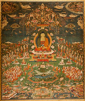 Buddhānusmṛti - Amitabha in Sukhavati Paradise, Tibetan, circa 1700, Ink, pigments, and gold on cotton, San Antonio Museum of Art.