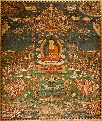 Buddhānusmṛti - Amitabha in Sukhavati Paradise, Tibetan, circa 1700, Ink, pigments, and gold on cotton, San Antonio Museum of Art.
