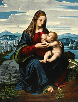 'Madonna and Child before a Landscape' by Marco d' Oggiono