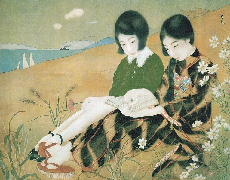 File:'Two Girls by the Sea' signed Kafu, painting on silk, c. mid-1920s, Honolulu Museum of Art.jpg