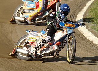 Motorcycle speedway - A speedway rider on the track
