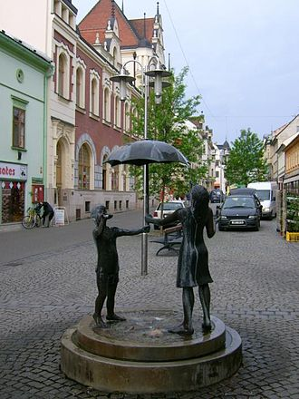 Šumperk - Statue on the main street in Šumperk.