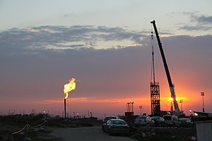 Meged oil field - Meged oil field at sunset, February 2011