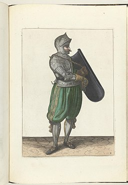 004 (swordsman, color) Book illustrations of Nassausche wapen-handelinge, van schilt, spies, rappier, ende targe