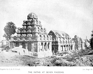 Group of Monuments at Mahabalipuram - The ratha temples are one of the many monuments at Mamallapuram. Above: A 1913 photo of the five rathas group.