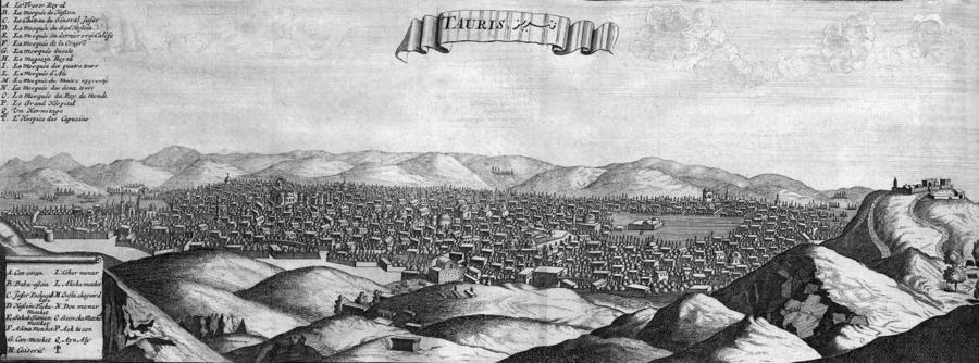 ציור פנורמי של העיר תבריז בשנת 1673 (לצפייה הזיזו עם העכבר את סרגל הגלילה בתחתית התמונה)