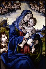 Madonna and Child with Infant Saint John the Baptist, Angels Circling Above