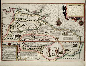 Raleigh's El Dorado Expedition - A Dutch map from 1599 made as a result of the English expedition shows (the supposed) Lake Parime with Manoa on its north-eastern shore