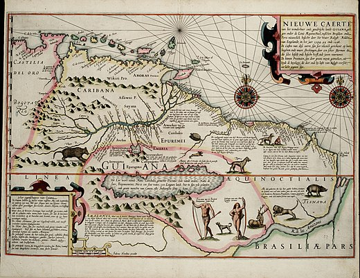 Map from 1599, made as a result of the expedition; it shows the supposed Lake Parime with Manoa on its northeastern shore 1599 Guyana Hondius.jpg