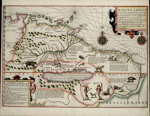 A Dutch map from 1599 made as a result of the English expedition; it shows the supposed Lake Parime with Manoa on its northeastern shore 1599 Guyana Hondius.jpg