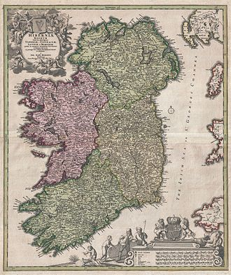 Provinces of Ireland - Johann Homann's 1716 map of Ireland. Note that he incorrectly places County Clare in Connacht; it had actually been returned to Munster in the immediate years after 1660.