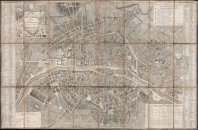 Map of Paris and the Faubourgs. The La Force prison was in Le Marais on Rue Pavee, near Place des Federes. The Conciergerie was located on the southeast side of the Ile de la Cite, near the Palais de Justice. The prison de l'Abbaye was south of the Seine, at the end of Rue de Bussi (E40). 1797 Jean Map of Paris and the Faubourgs, France - Geographicus - Paris-jean-1797.jpg