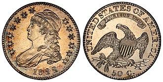 Capped Bust - Image: 1822 50C PR